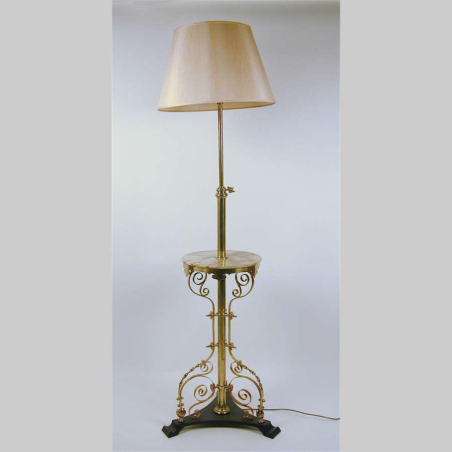 Aesthetic movement brass standard lamp