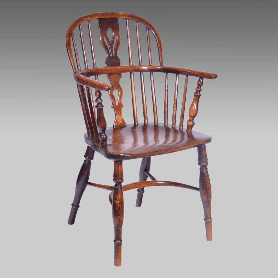 19th century ash & elm lowback Windsor armchair
