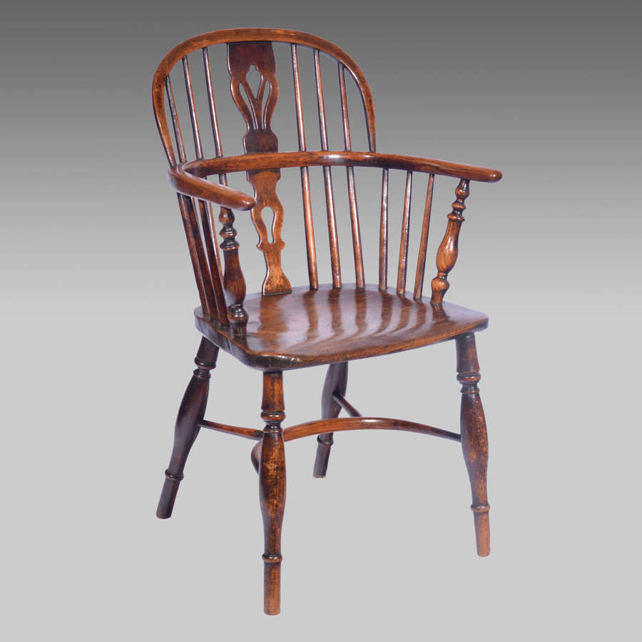 19th century ash & elm lowback Windsor armchair