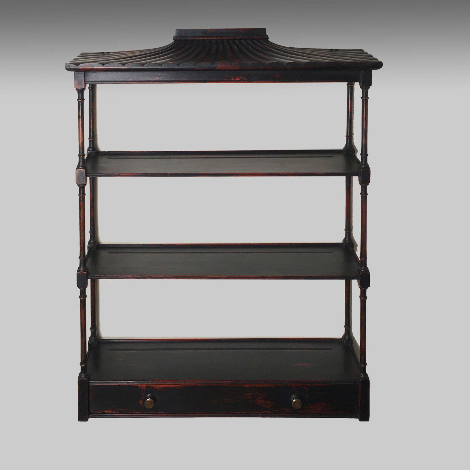 Antique Chinese Export pagoda topped display shelves