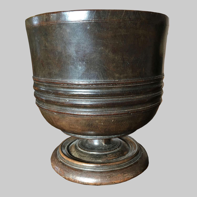17th century turned lignum vitae Wassail bowl