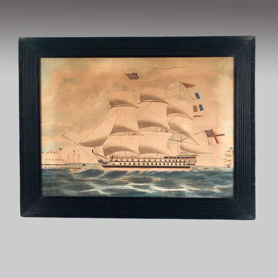 Late 18th century naive watercolour painting ship of the line