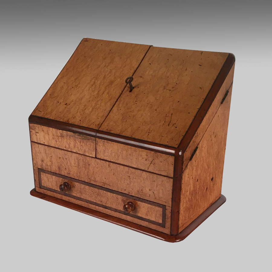 Victorian maple veneered mahogany stationery box
