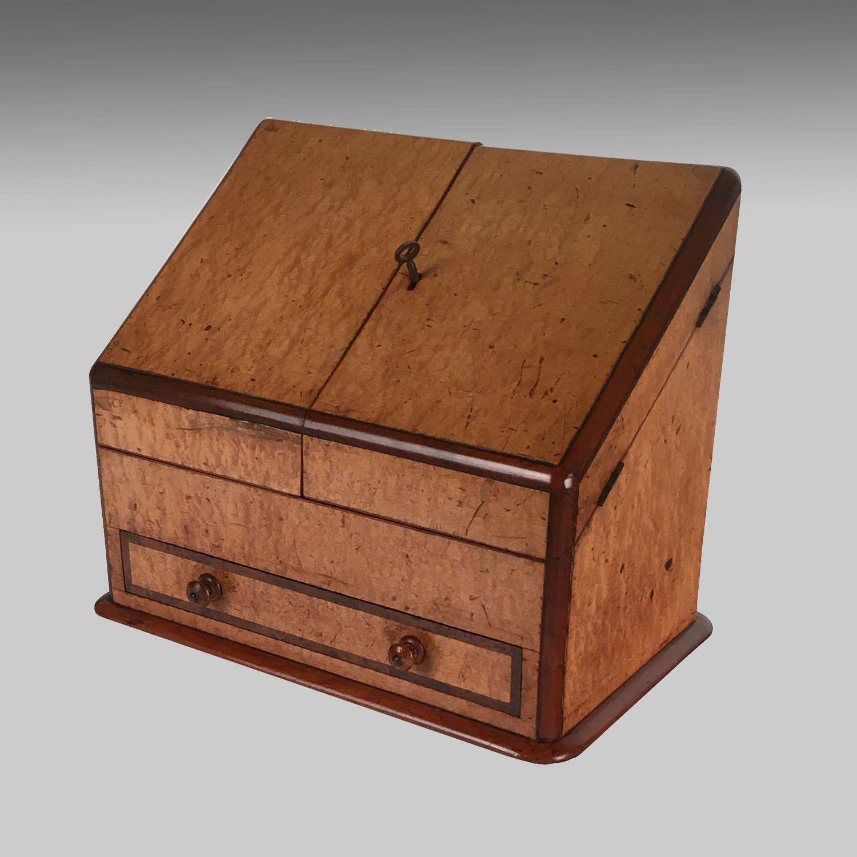 Victorian maple veneered mahogany stationery box