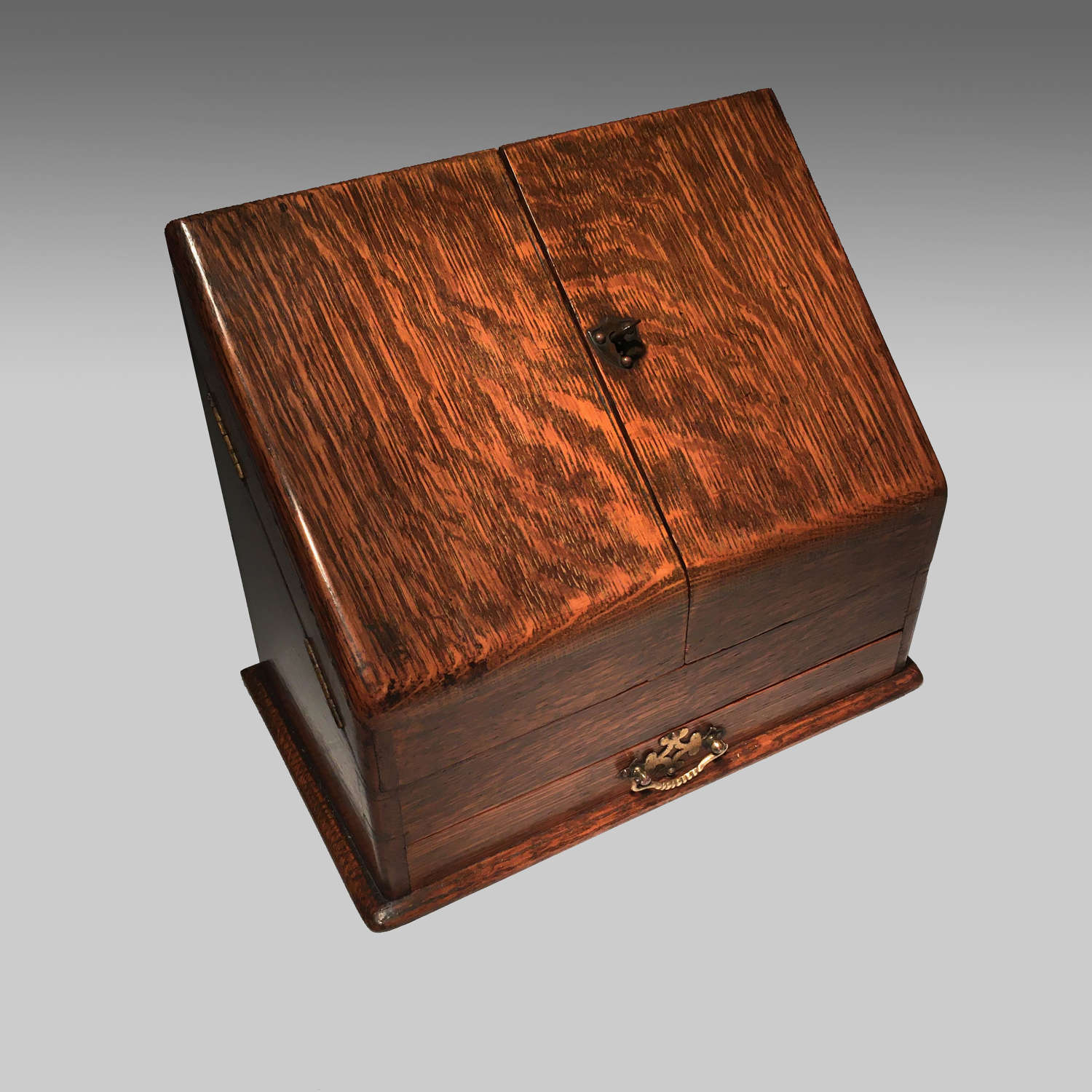 Victorian oak stationery box