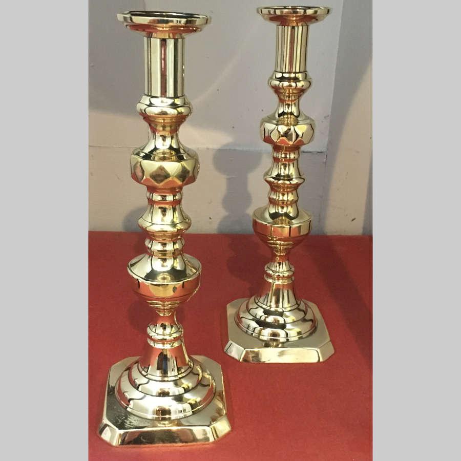 Pair Victorian 'King of Diamonds' cast brass candlesticks