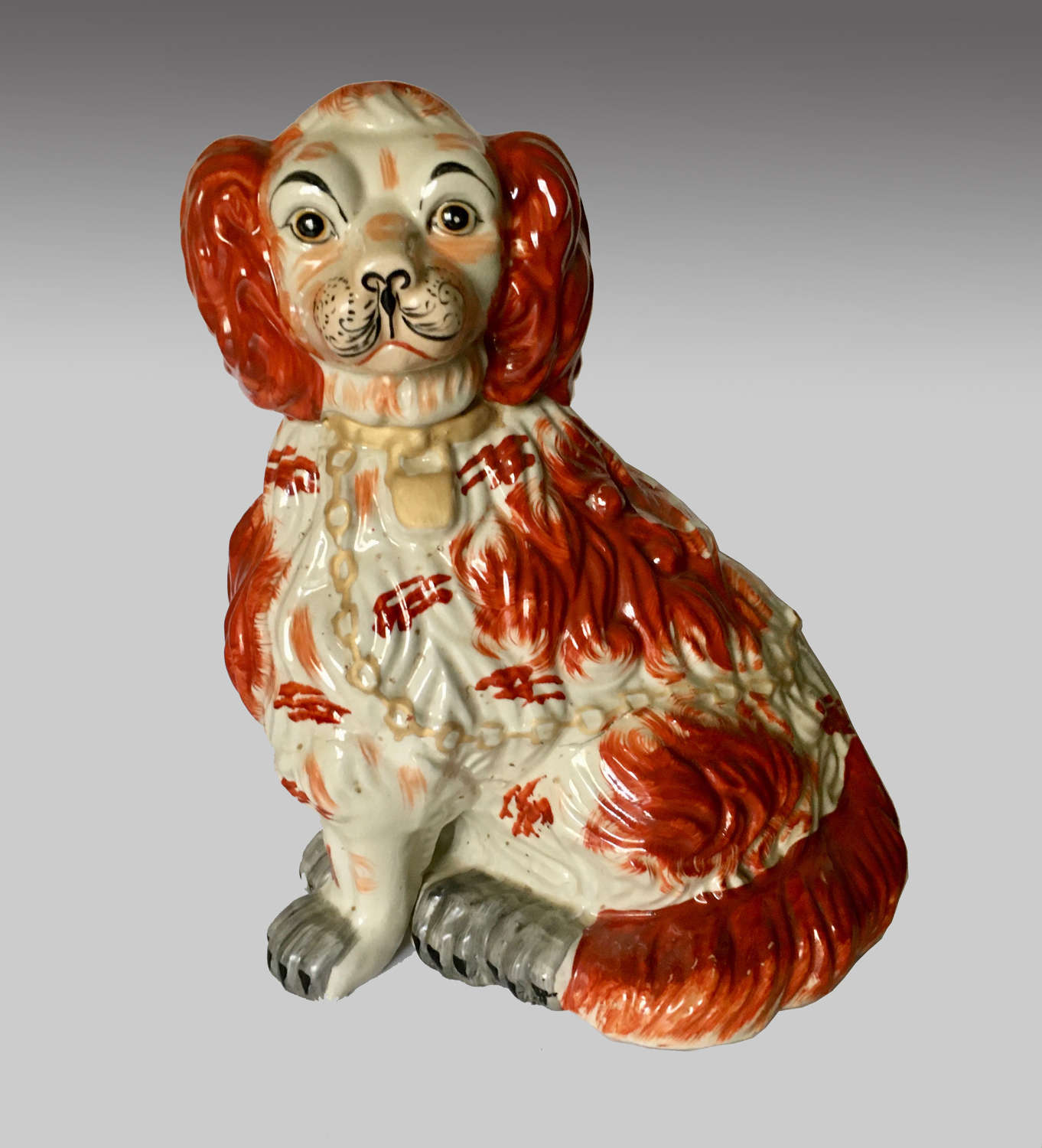 Large vintage Staffordshire pottery Wally dog
