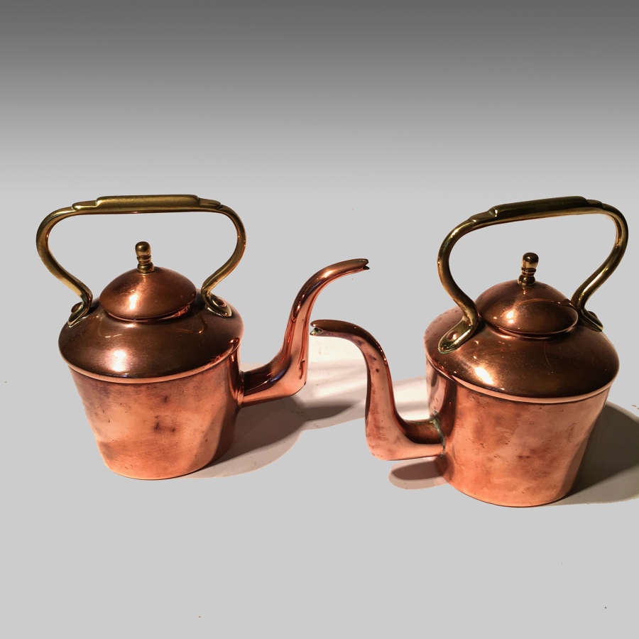 Pair miniature copper kettles