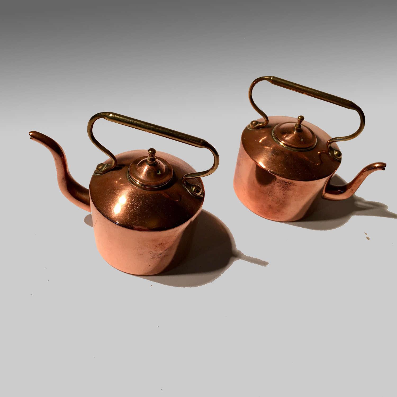 Pair miniature copper kettles