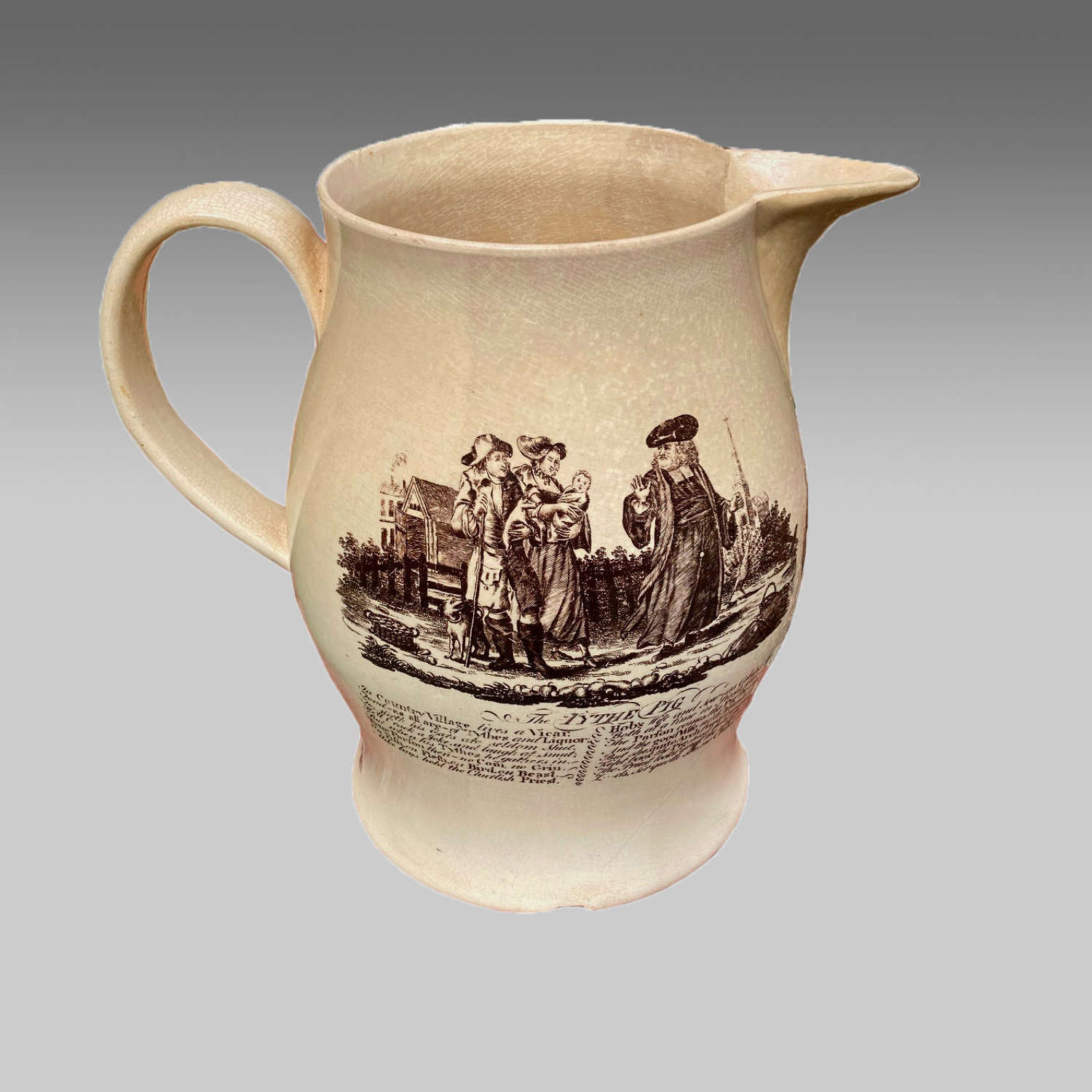 Georgian creamware jug with The Tythe Pig and Poor Jack