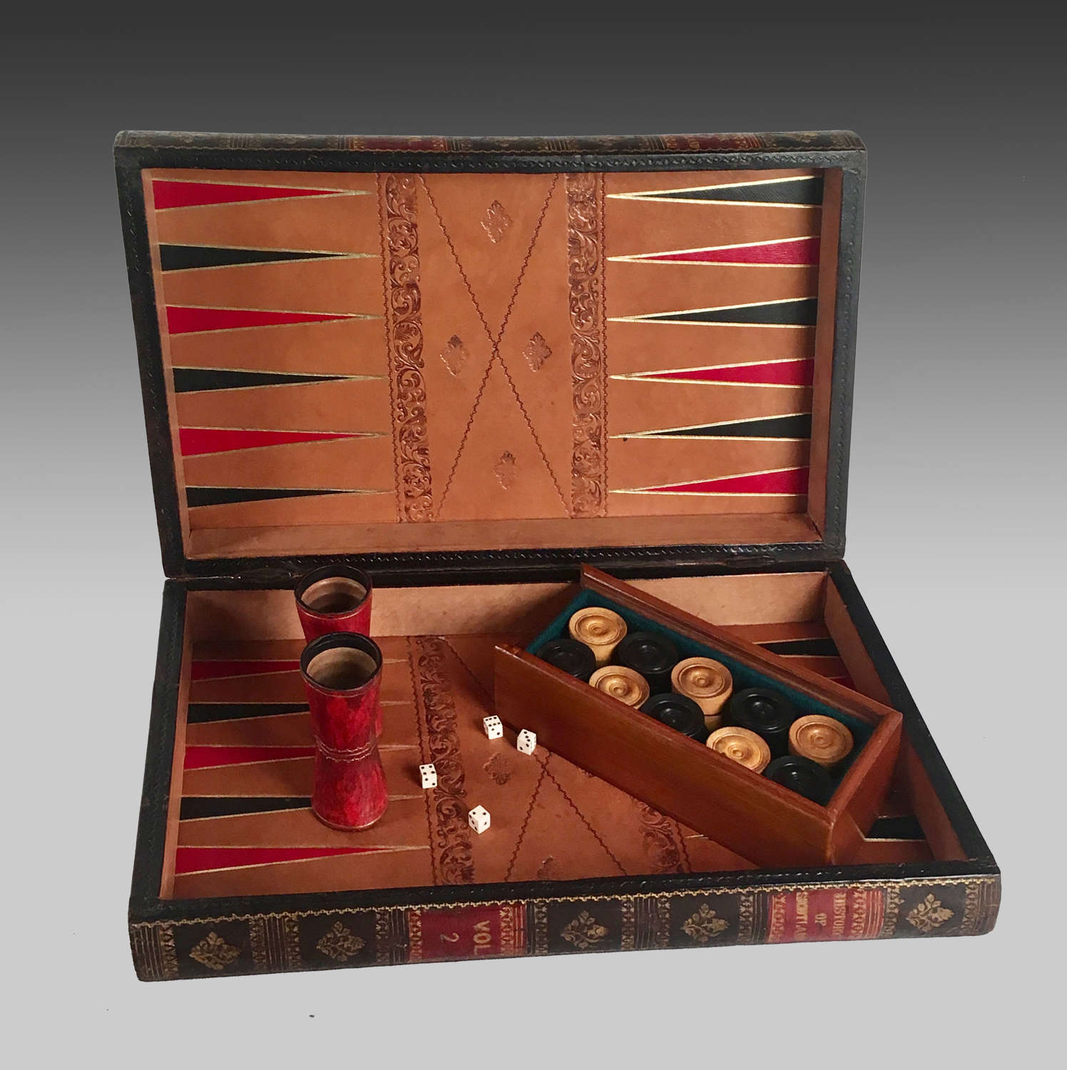 Leather bound faux book backgammon & chess games board
