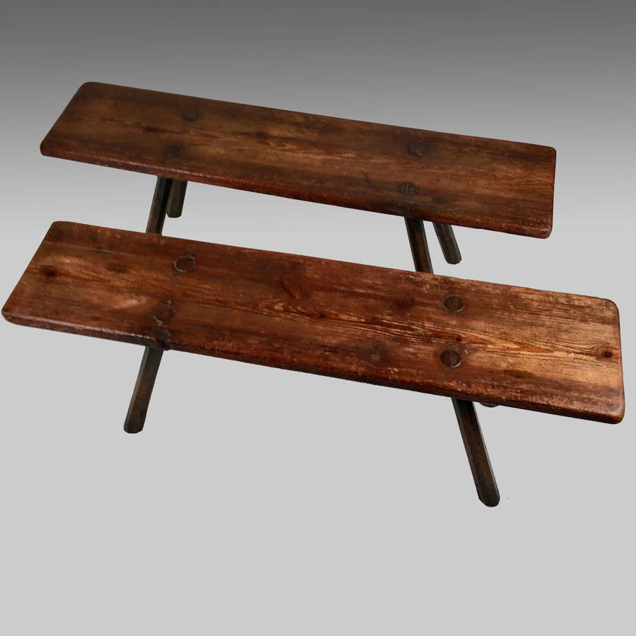 Two rustic oak and pine benches