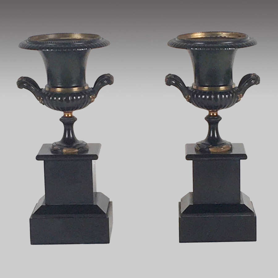 Pair of Bronze and Ormolu Urns