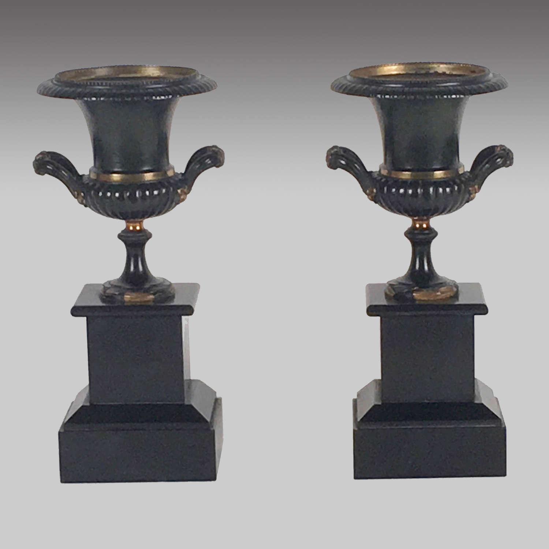 Pair of Bronze and Ormolu Urns