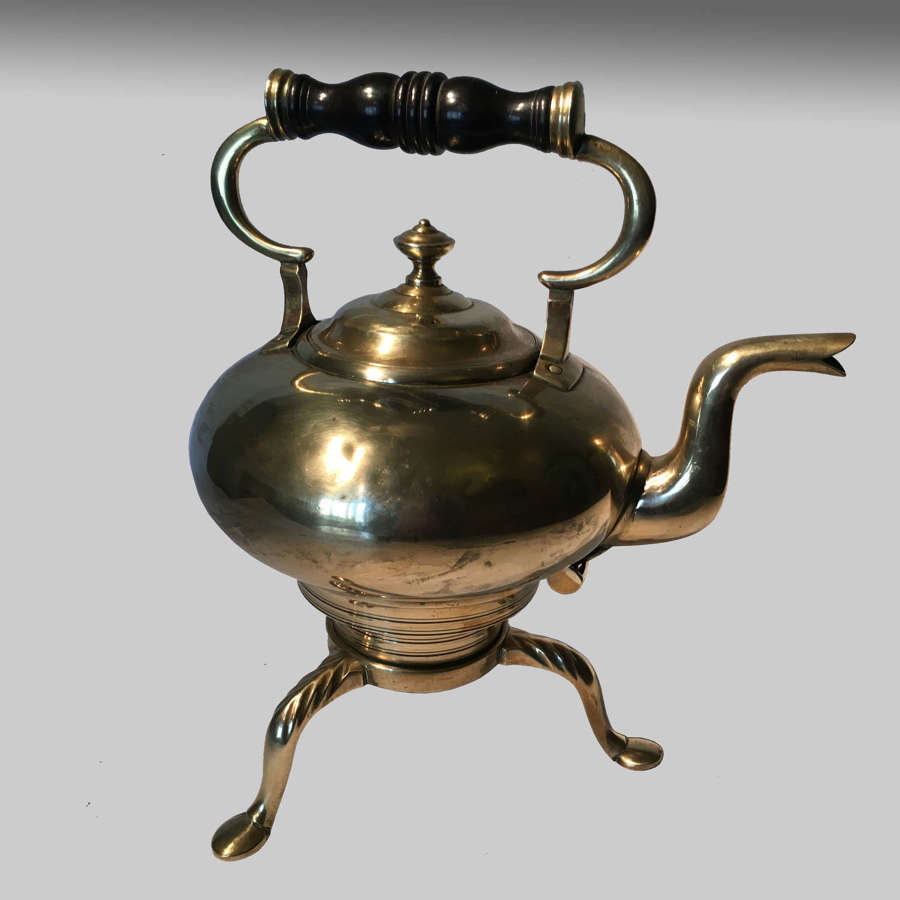 Rare Scottish brass toddy kettle on stand