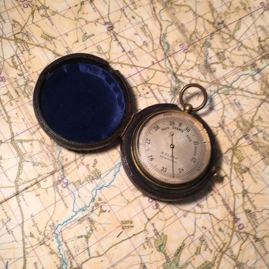 19th century pocket barometer-altimeter by R.Clark, Newcastle