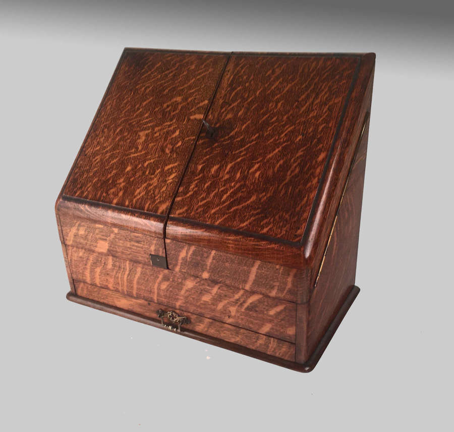 Victorian oak stationery box