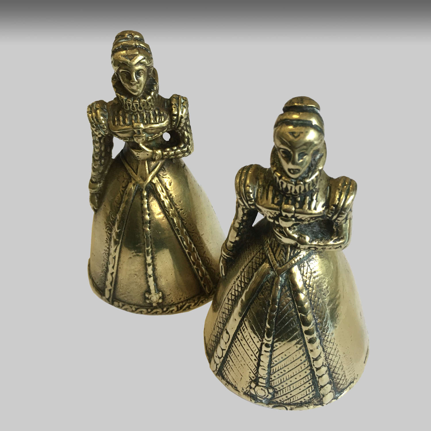Two cast brass table bell or summoners