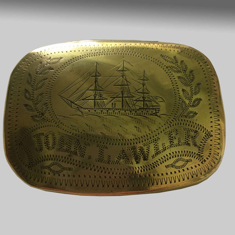 19th century sailor's brass tobacco box
