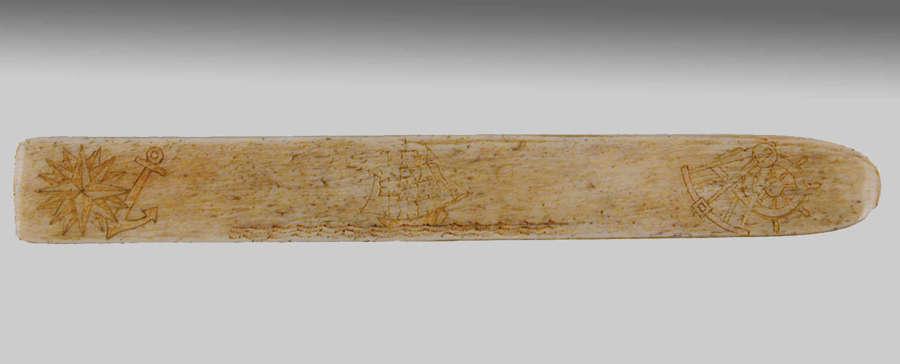 Scrimshaw whalebone stay busk