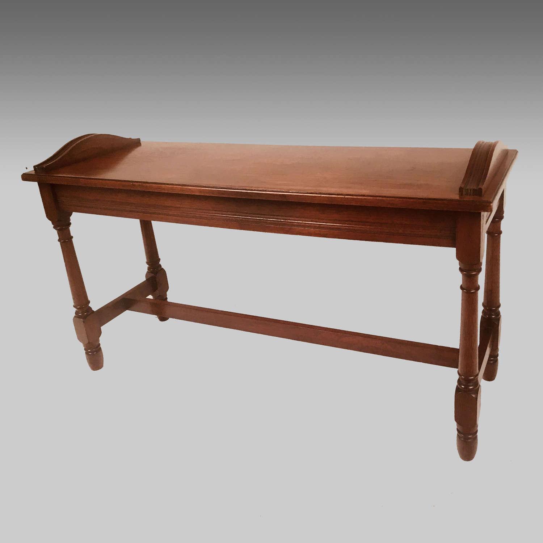 Edwardian walnut hall bench or window seat