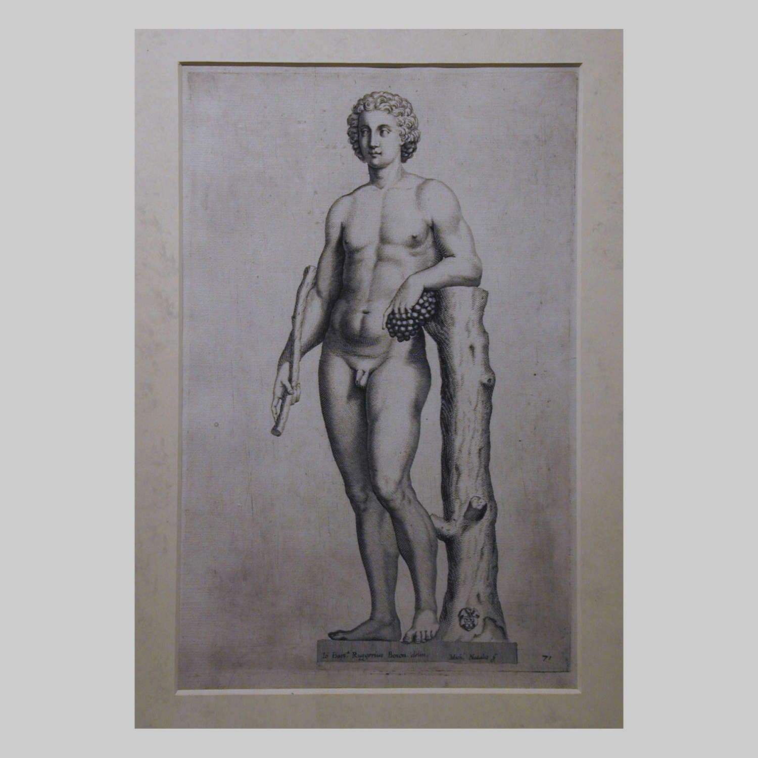 17th century engraving of Bacchus with Grapes and Stick