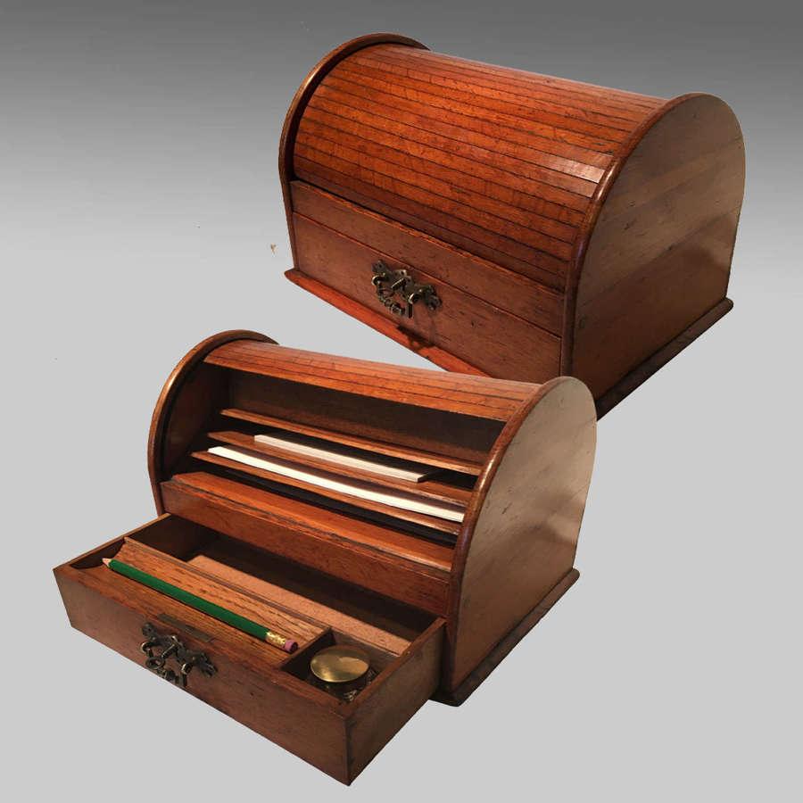 Edwardian oak stationery box