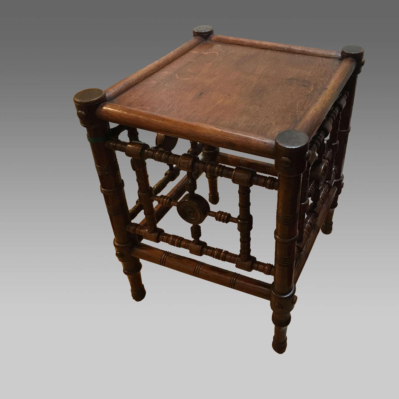 Aesthetic Movement oak table or stool