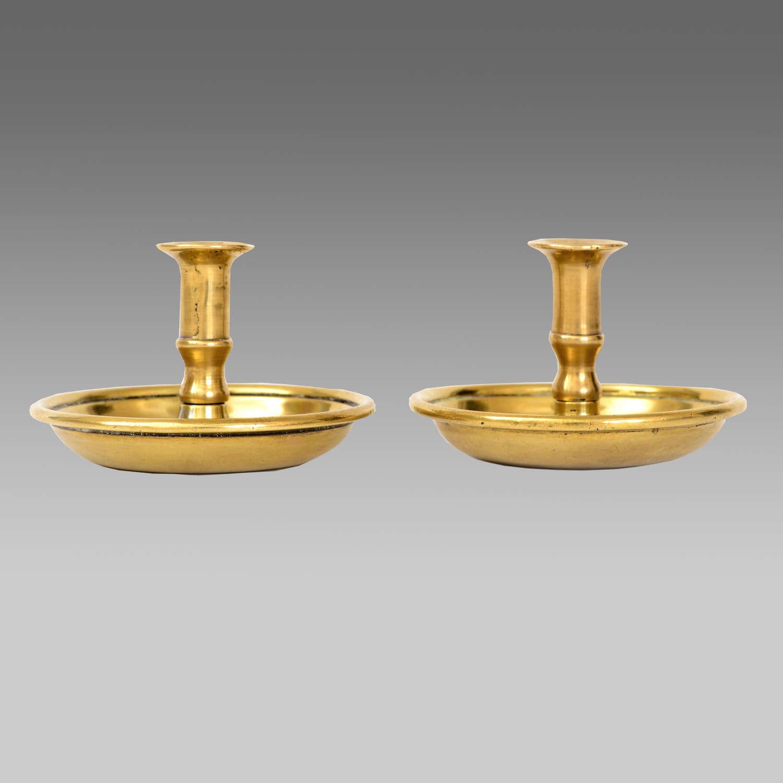 Rare pair cast brass 'Brighton Bun' tapersticks