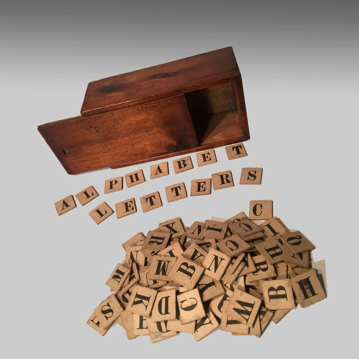 19th century  boxed alphabet spelling letters