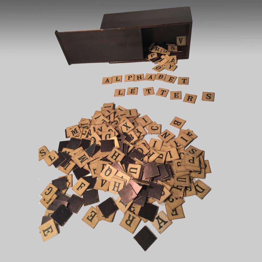 19th century mahogany boxed alphabet spelling letters