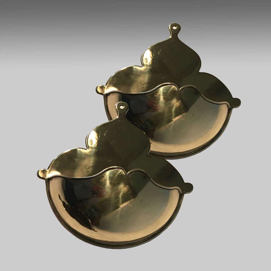 Pair 19th century cast brass spill holders