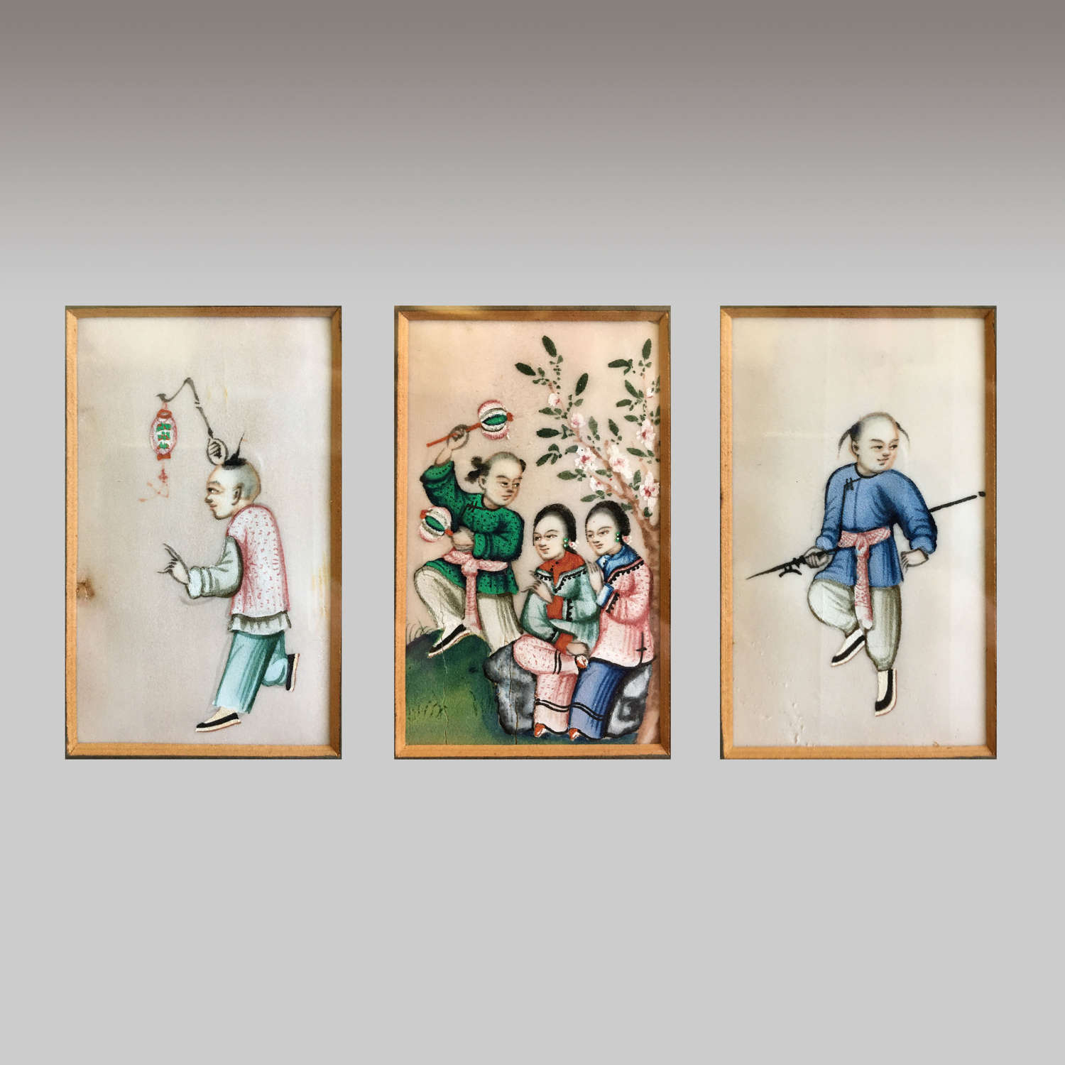 19th century Chinese School gouache pith paper paintings