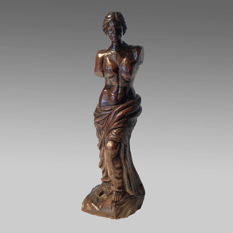 Italian walnut carved figure of Venus de Milo