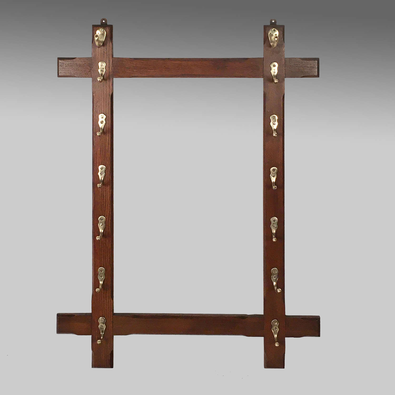 Aesthetic Movement style oak and brass whiprack