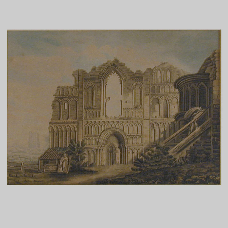 19th century watercolour, Castle Acre Priory, Norfolk