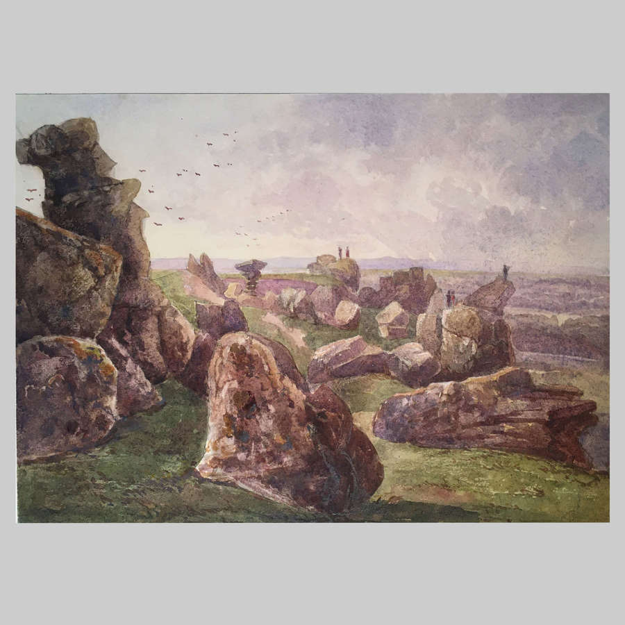 19th century watercolour-Brimham Rocks by The Hon.Georgiana Rushout