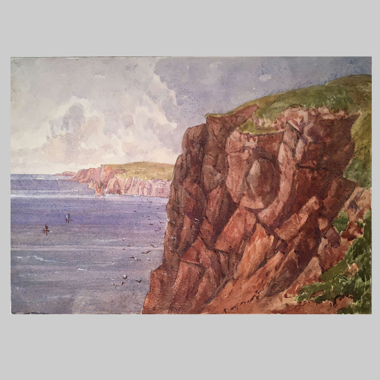 19th century watercolour-Cape Wrath by The Hon Georgiana Rushout
