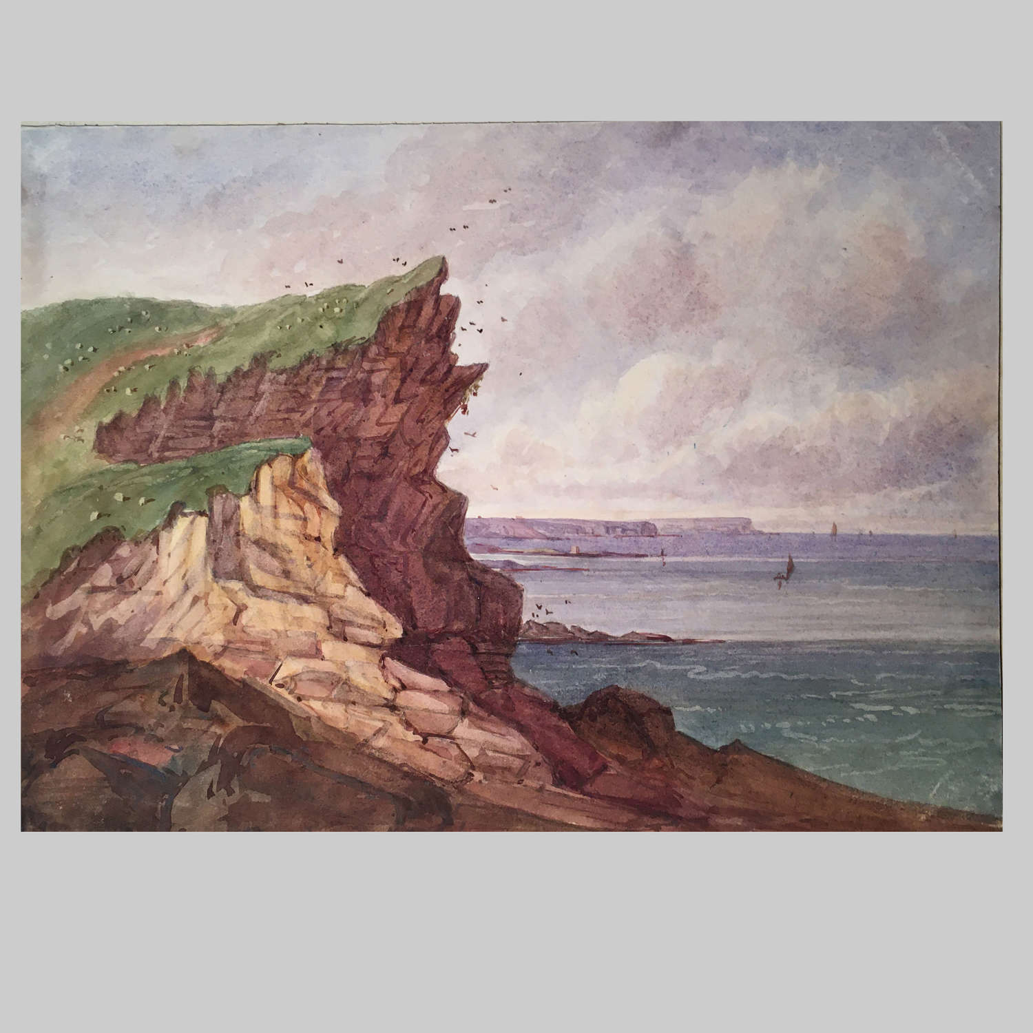 19th century waterolour-Bressay Point by The Hon. Harriet Rushout