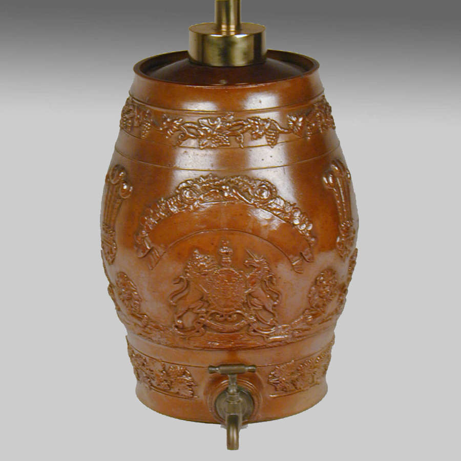 Derbyshire Brampton pottery salt-glazed stoneware spirit barrel